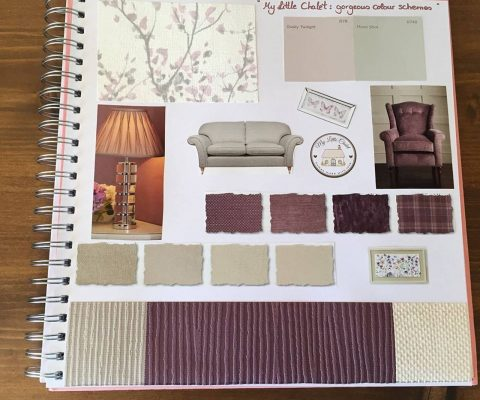 Colour board: purple, grey and neutral shades