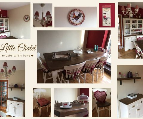 French Farmhouse red gingham dining room