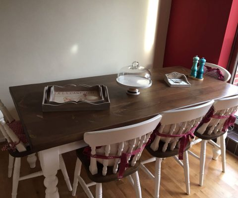 Handcrafted dining table & farmhouse chairs