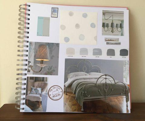 Colour board: soft blue, grey and cream